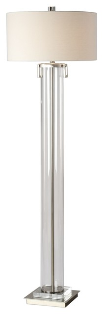 Monette Contemporary Clear Acrylic Cylinder Floor Lamp.