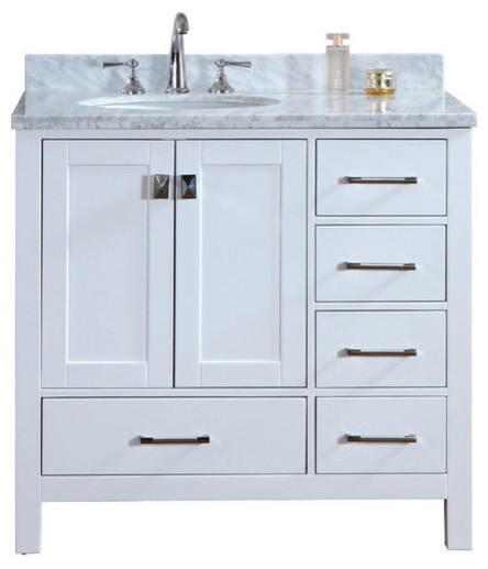 "bella 36"" solid wood bathroom vanity and mirror - transitional"
