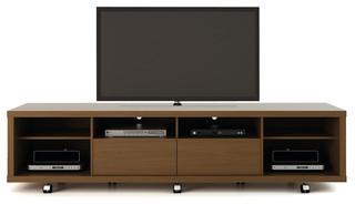 Manhattan Comfort Cabrini TV Stand 2.2, Nut Brown