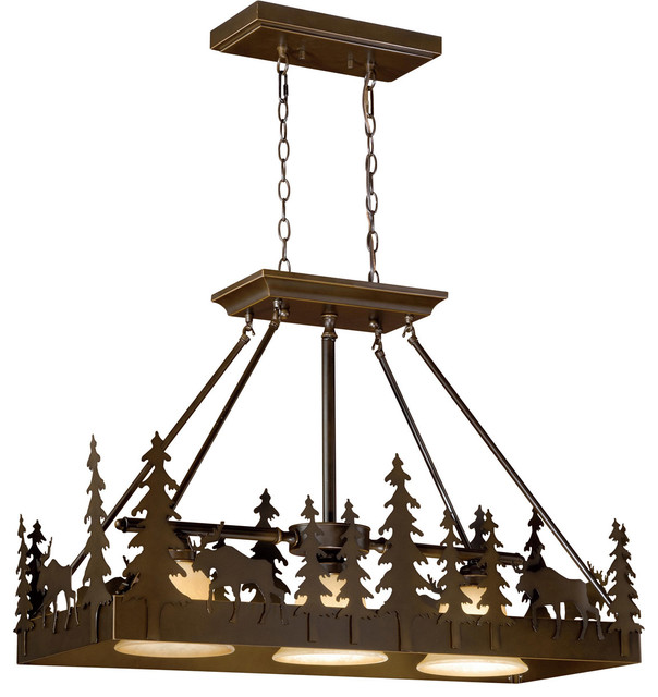 Island Lighting 3 Light Fixtures W Burnished Bronze Steel Medium 36 300 Watts