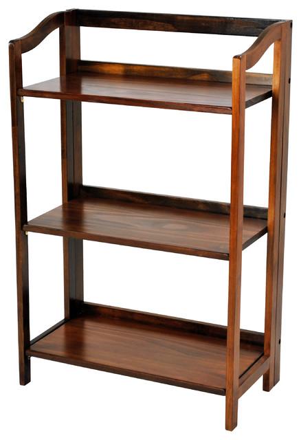 Stratford 3-Shelf Folding Bookcase, Warm Brown, 3-Shelf.