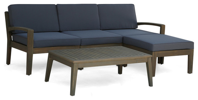 GDF Studio Grenada 3-Seater Acacia Sectional Set With Coffee Table and  Ottoman