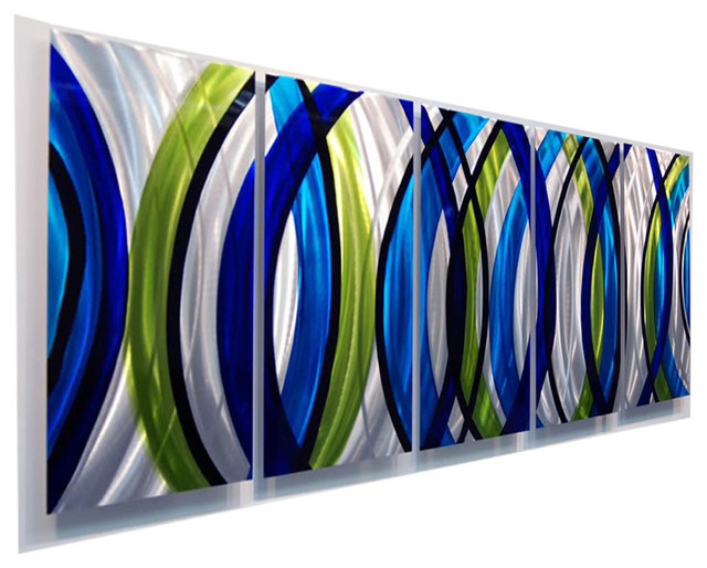 "Stunning Modern Silver, Green And Blue Panel Metal Wall Art, Sonic Boom, 84""x36""."