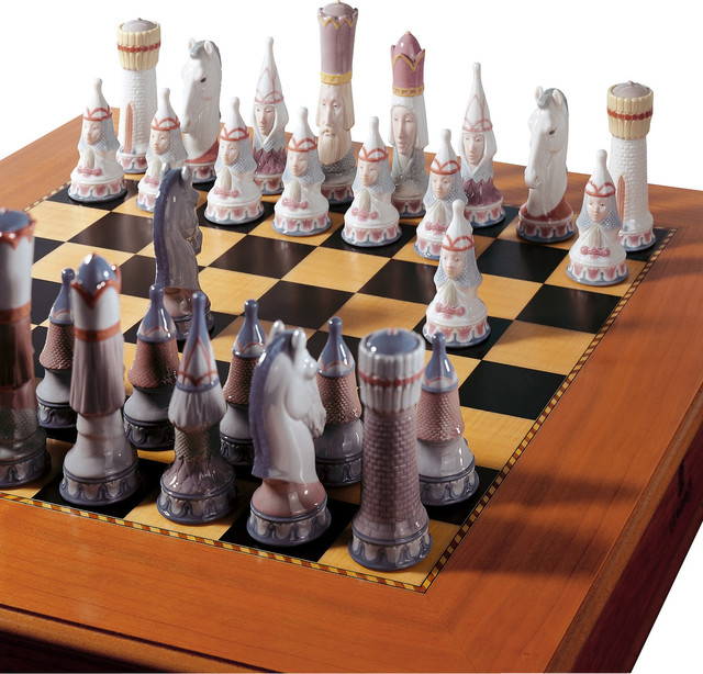 Contemporary Chess Set lladro medieval chess set board box included - contemporary