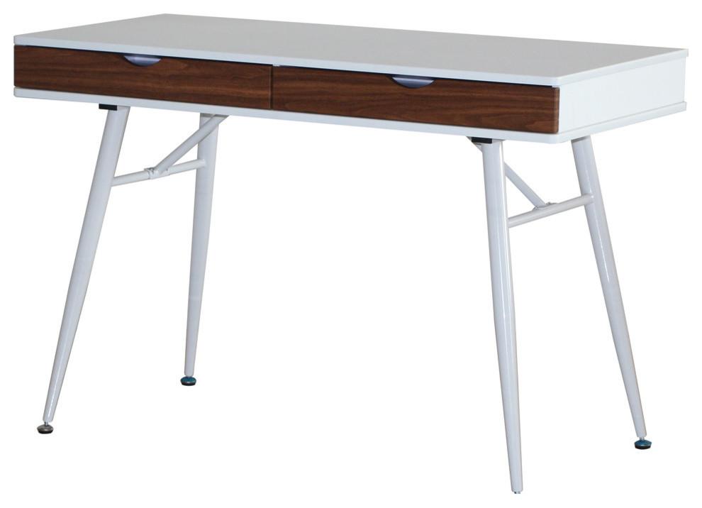 Cute White and Walnut Mid Century Modern Desk w/ Drawers