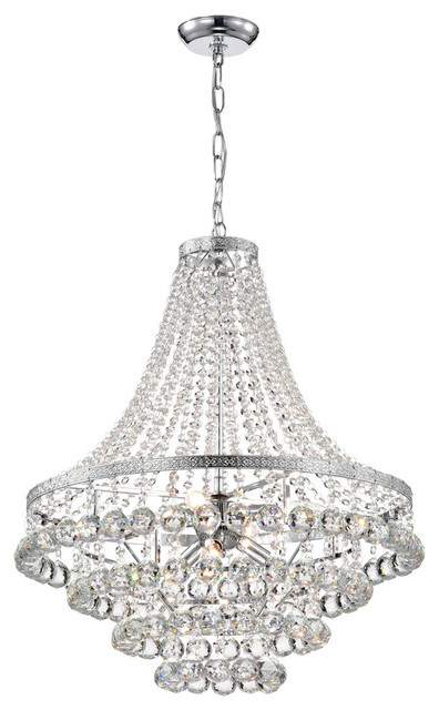 7 Light Chrome And Crystal Empire 4 Tier Chandelier Glam Lighting Contemporary Chandeliers By Edvivi Llc