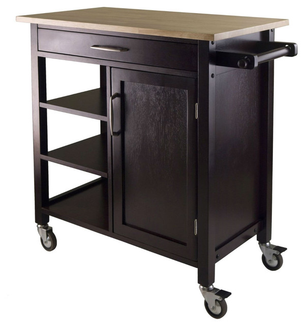 Natural Wood Top Mobile Kitchen Cart, Espresso Finish Kitchen Islands And  Kitchen