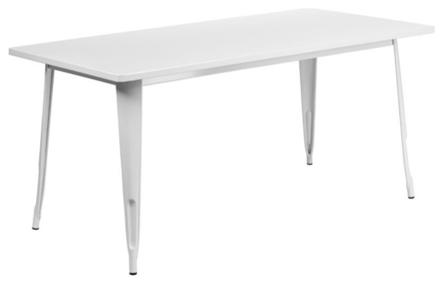Sterling Metal Indoor/Outdoor Table, White Contemporary Outdoor Dining  Tables