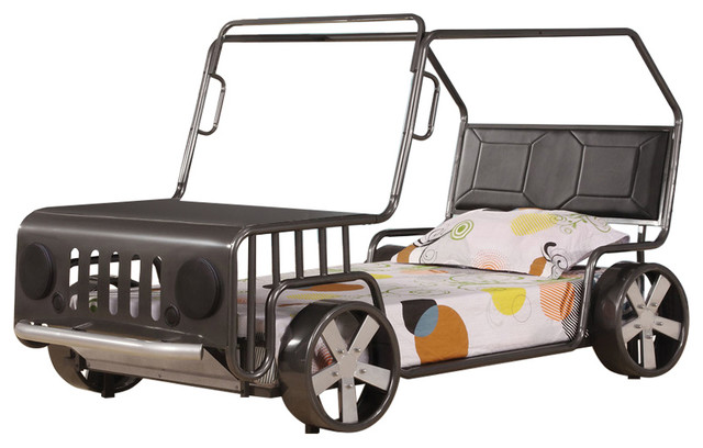 Acme Jerome Car Bed, Silver.