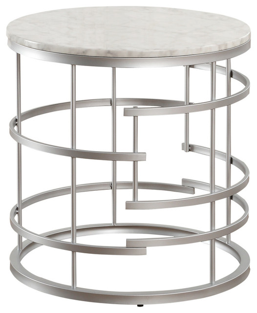 Jaxton Round End Table With Faux Marble Top Contemporary Side Tables And End Tables By Lexicon Home