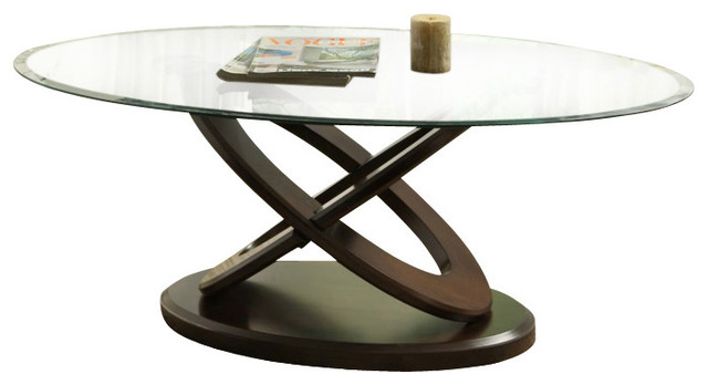 Homelegance Firth Ii 3 Piece Oval Glass Coffee Table Set In Deep Cherry Coffee Table Sets Houzz