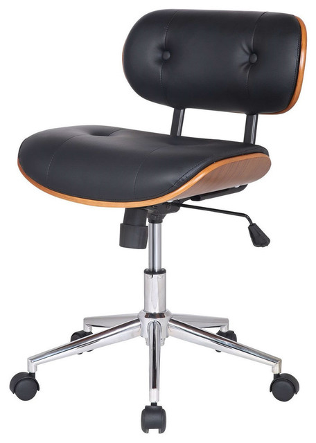 black fuax leather swivel office chair with cushion seat back office