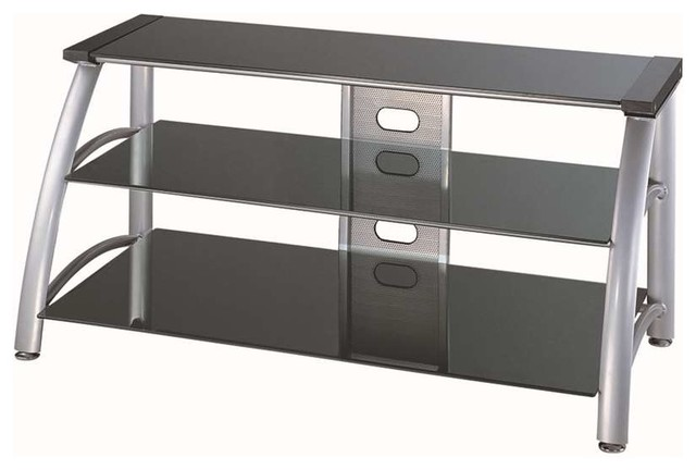 lite source 3 tier tv stand silver chrome black glass - Glass Entertainment Center
