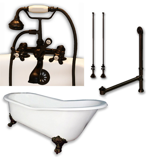 """Cast Iron Slipper Clawfoot Tub 67"""", Complete Oil Rubbed Bronze Package."""