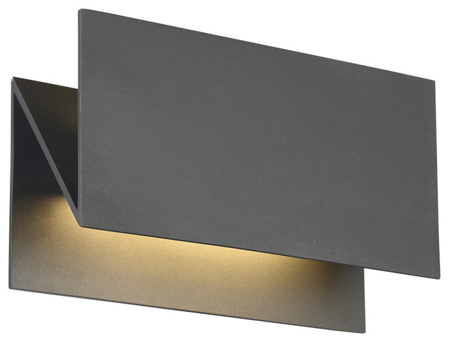 Zig-Zag Led Outdoor Wall Mount In Graphite Grey.