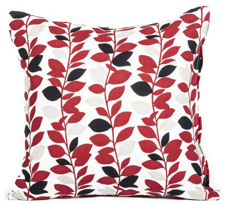 Red And Black Branch Leaf Pattern Accent Throw Pillow Cover 16x16