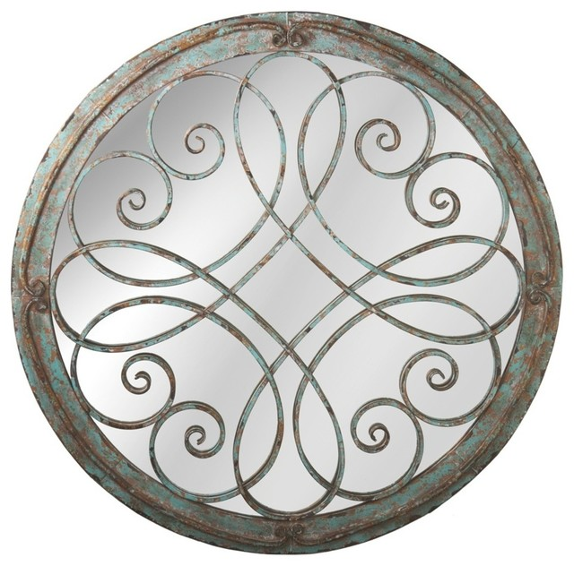 round scroll wall mirror distressed blue - Round Wall Mirror