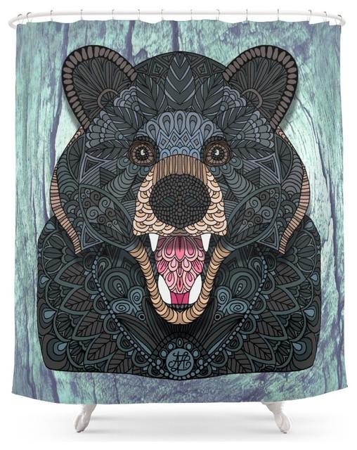 Society6 Ornate Black Bear Shower Curtain - Shower Curtains - by ...