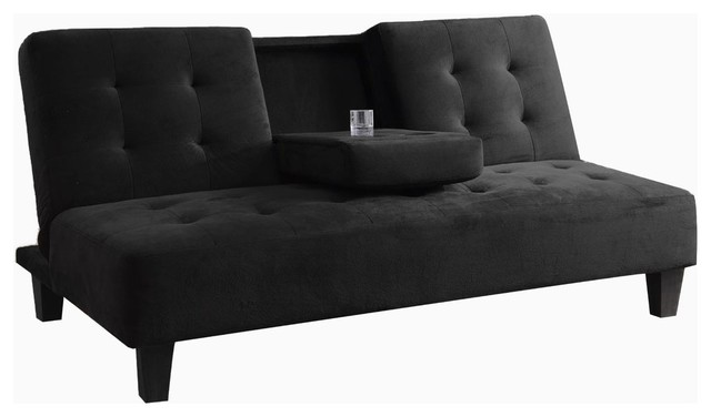 Tufted Futon Sofa Bed With Drop Down Cup Holder In Black