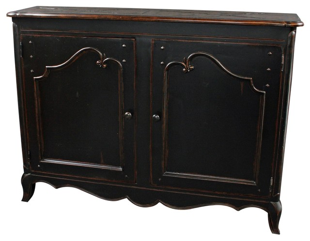 Sideboard French Country Wood Raised, Black by EuroLuxHome