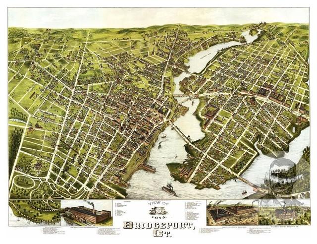 Historic Bridgeport, CT Map 1875, Vintage Connecticut Art ...