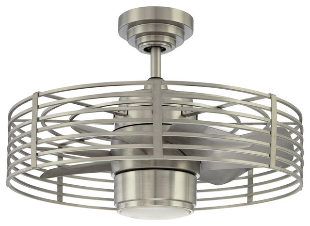 Contemporary Caged Ceiling Fan With Light, Satin Nickel.