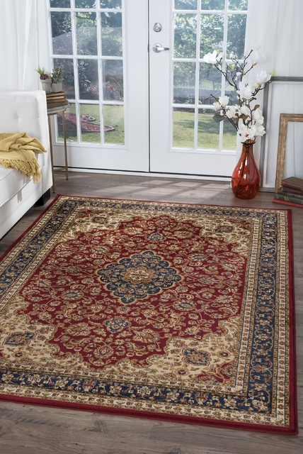 Kirsten Traditional Oriental Red Rectangle Area Rug, 8' x 10'