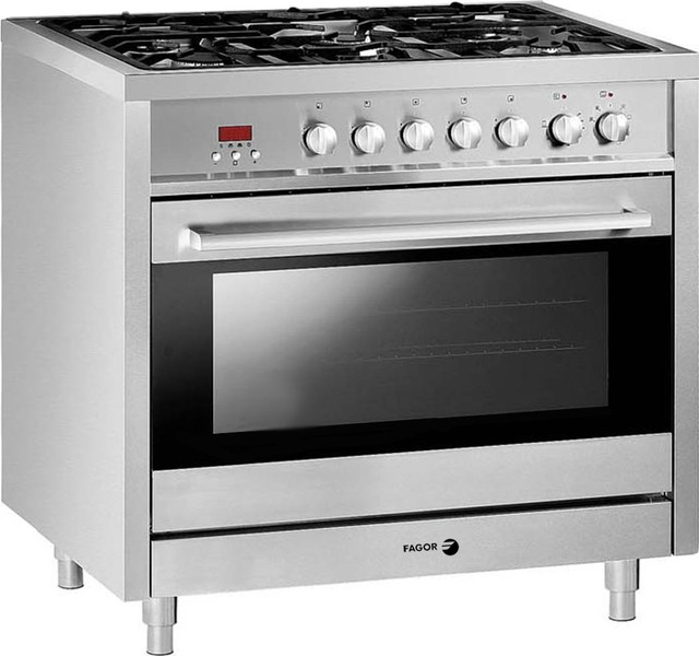 Fagor 36 Dual Fuel Range With 7 Programs 5 Total Burners In Stainless Steel.