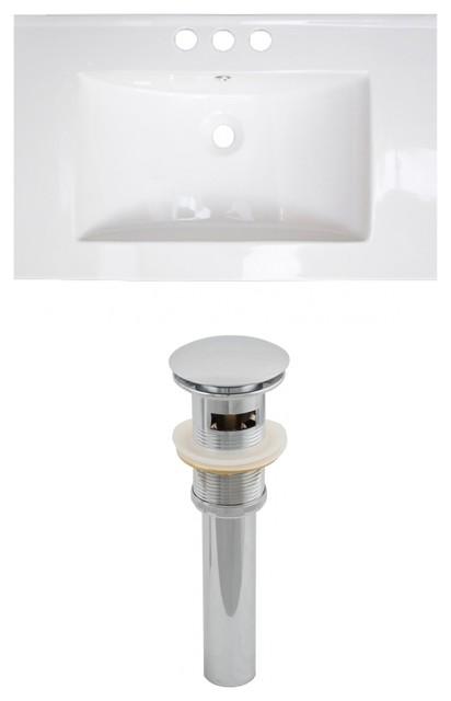 Vee 30x18.5 Ceramic Top Set, White Color And Drain, 8 Center.