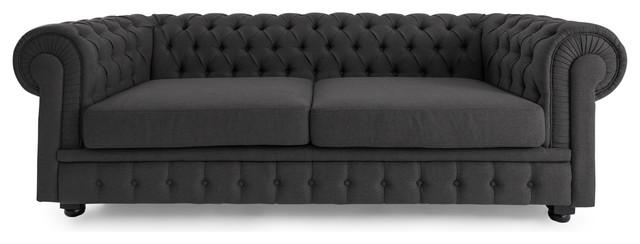 Chesterfield Clic Modern Premium Fabric Sofa Chevron Gray Material Twill