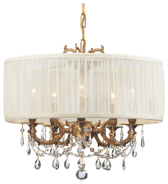 Crystorama Gramercy 5 Light Swarovski Crystal Brass Drum Shade Mini Chandelier
