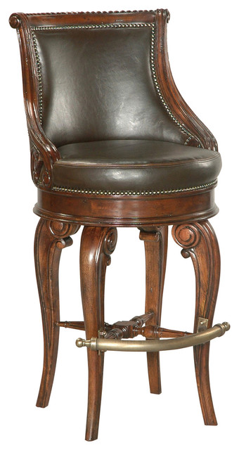 Tatum Swivel Barstool, Dark Leather