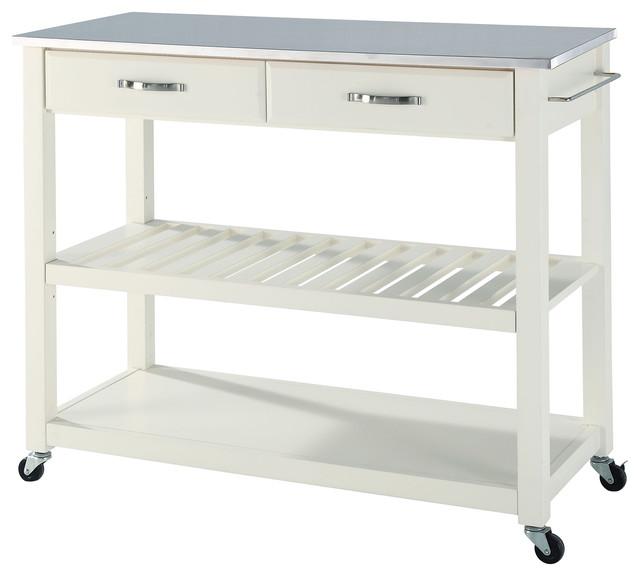 Stainless Steel Top Kitchen Cart/Island, Optional Stool Storage, White