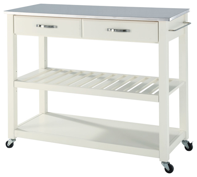 Stainless Steel Stools Kitchen: Stainless Steel Top Kitchen Cart/Island, Optional Stool