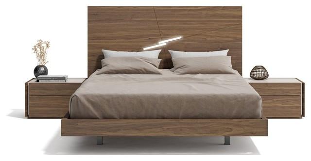 Faro Premium 3 Piece Bedroom Set Walnut And Light Grey King Modern Bedroom Furniture Sets By Bedtimenyc