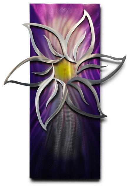 Metal Wall Art Decor Abstract Contemporary Modern Sculpture Purple Lotus