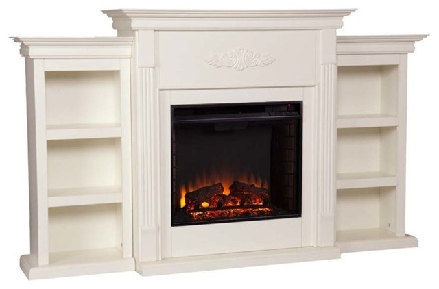 Tennyson Electric Fireplace With Bookcases, Ivory.