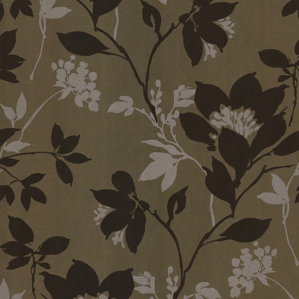 Salon Silhouette Floral Wallpaper Contemporary Wallpaper By