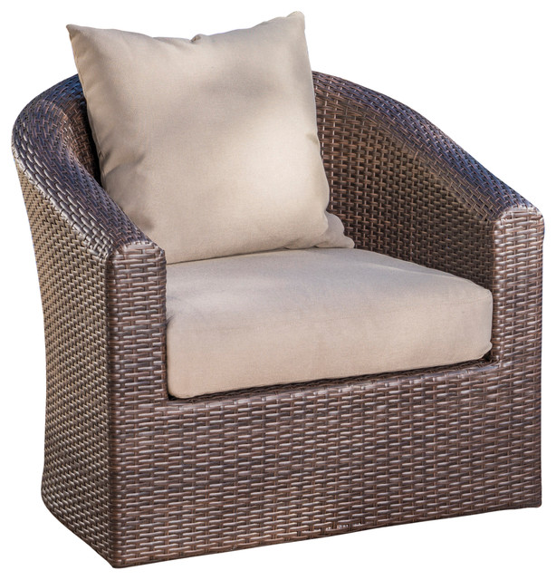 dillard outdoor mix brown wicker swivel club chair tropical