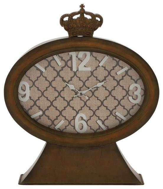 "Rustic Table Clock: Metal Wood Table Clock 18""W, 21""H"