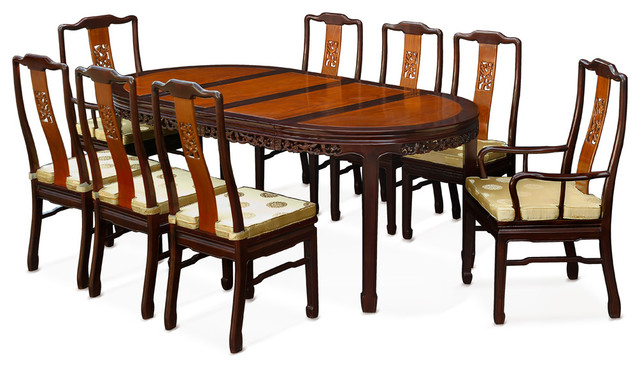 80 rosewood flower oval dining table with 8 chairs asian dining sets by china furniture. Black Bedroom Furniture Sets. Home Design Ideas