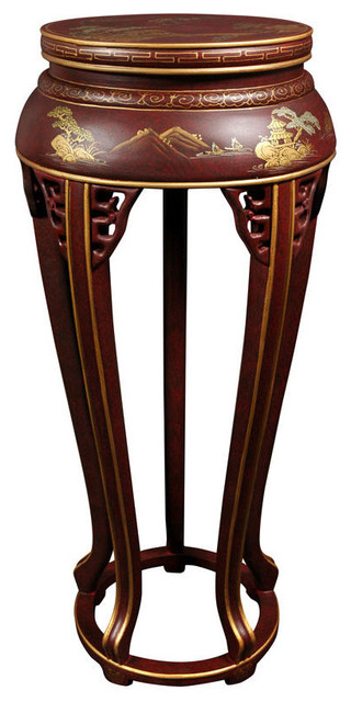 """36"""" Lacquer Plant Stand, Red Landscape."""