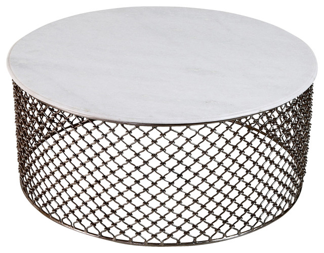 sigrid global white marble iron coffee table - eclectic - coffee