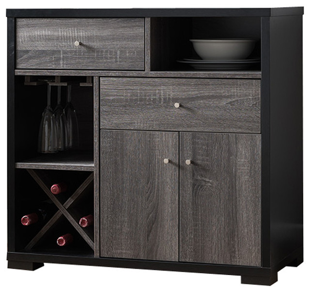 Dual-Tone Wooden Wine Cabinet, Black & Distressed Gray ...