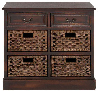 Country Wood Cabinet 2 Drawer 4 Baskets Brown Accent Table Furniture Decor