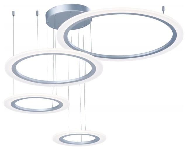 Et2 Saturn Ii Led 4-Light Pendant, Matte Silver.
