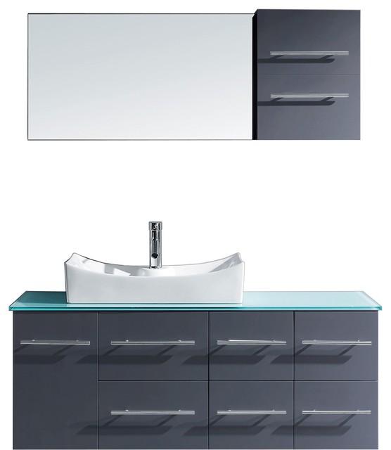 "Ceanna 55"" Single Bathroom Vanity Set, Gray, Aqua Tempered Glass Top."