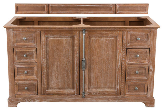 "Providence 60"" Double Vanity, Driftwood, Without Top"