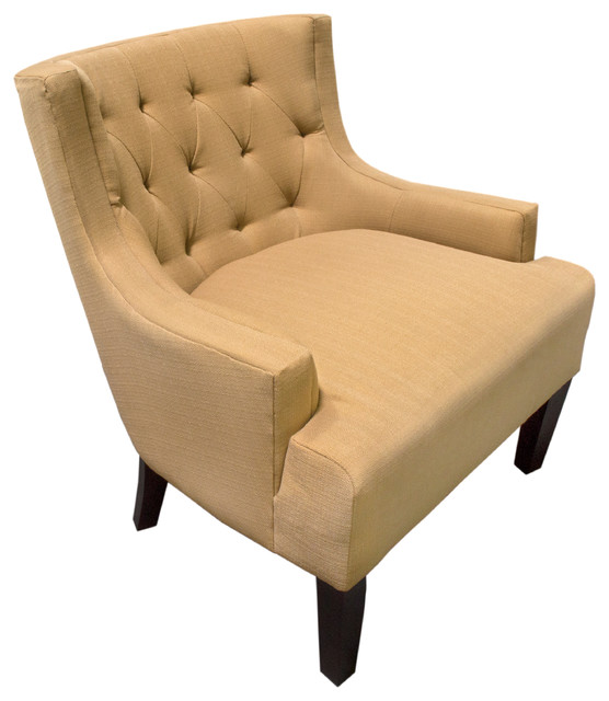Stylish Linen Blend Arm Accent Chair, Mustard Transitional Armchairs And  Accent