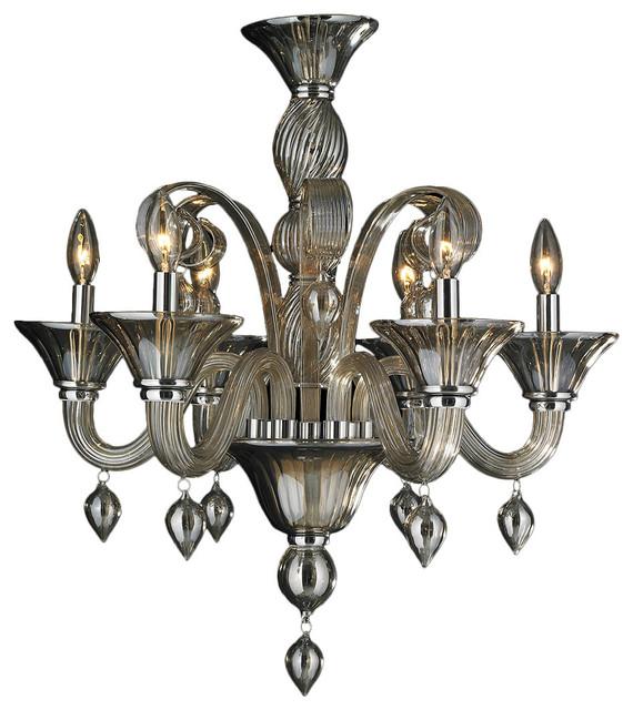 Murano Venetian Style 6-Light Blown Glass Chandelier, Golden Teak
